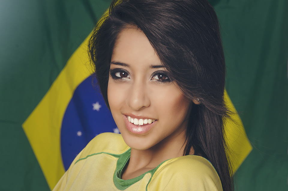 Brazilian Girl with Flag